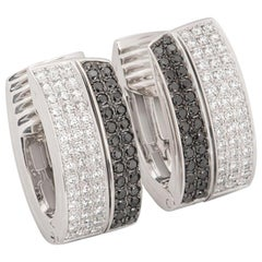 Chopard Black and White Diamond Set Hoop Earrings 844073-1001