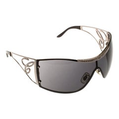 Chopard Black SCH586S Embellished Shield Sunglasses