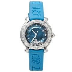 Chopard Blue Diamonds Rubber Happy Sport 27/8921 Quartz Women's Wristwatch 32MM