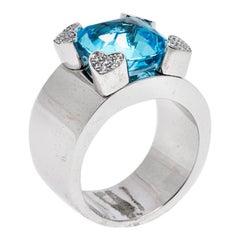 Chopard Blue Topaz & Diamond 18k White Gold Ring Size 54.5