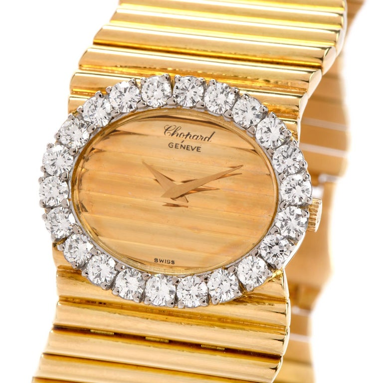 This exquisitely made Vintage 1960's ladies Chopard diamond cocktail watch Is a must have. This Boutique quality Chopard watch is made of luxurious 18k high polish yellow gold and adorned with 26 diamonds around its bezel, totaling an estimated