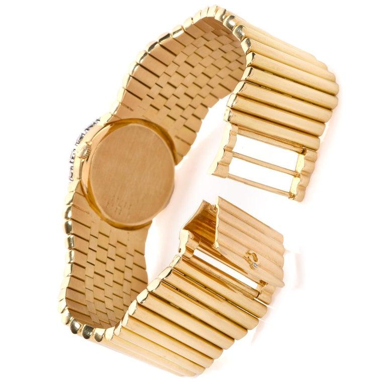Modern Chopard Boutique 1960 18 Karat High Polish Gold Bracelet Diamond Watch Ref 5052 For Sale