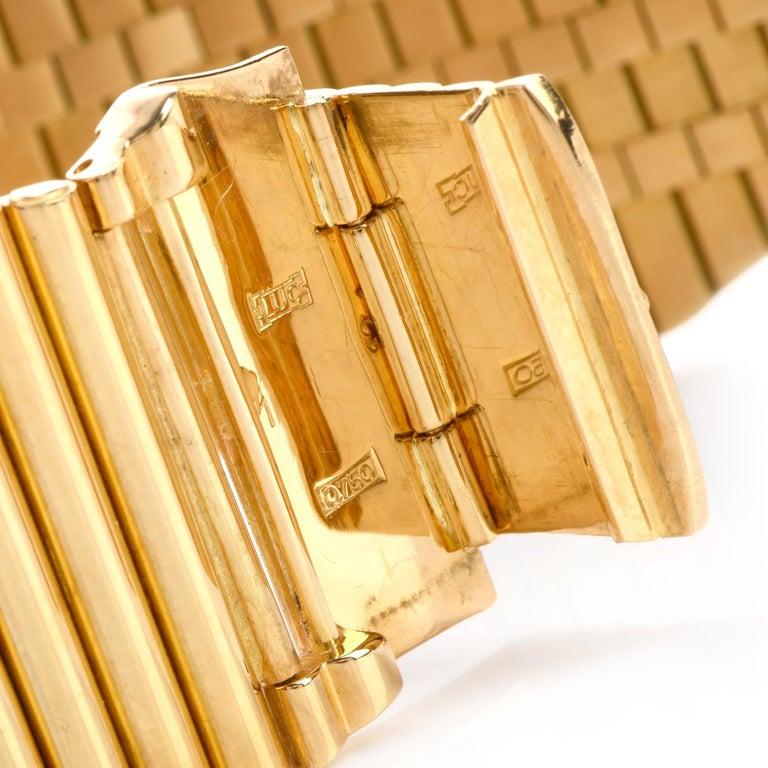 Round Cut Chopard Boutique 1960 18 Karat High Polish Gold Bracelet Diamond Watch Ref 5052 For Sale