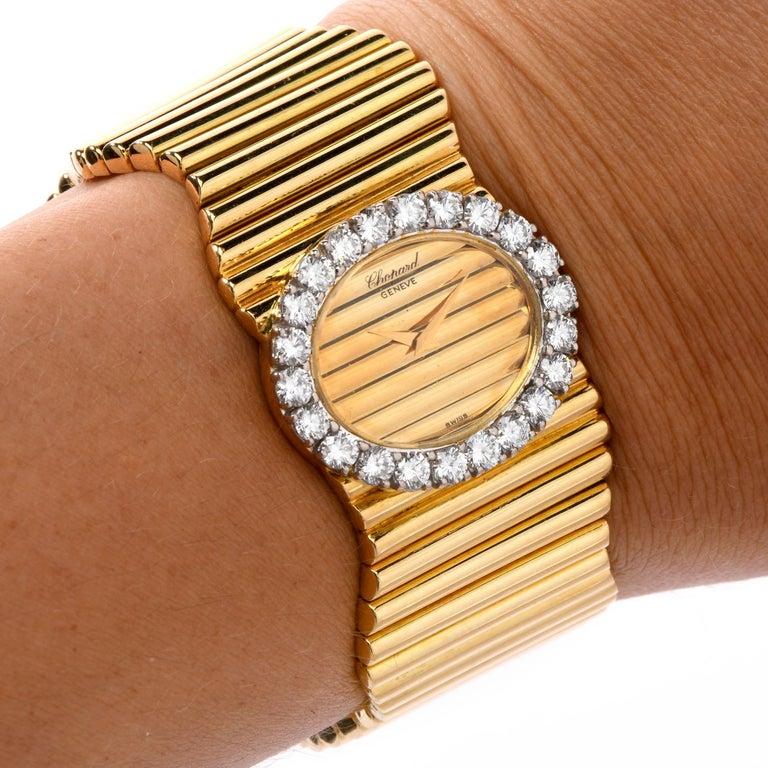 Women's Chopard Boutique 1960 18 Karat High Polish Gold Bracelet Diamond Watch Ref 5052 For Sale