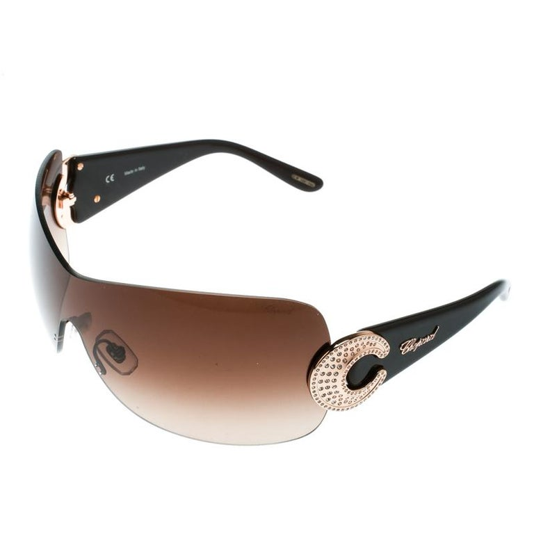 04df7379edc31 Women s Chopard Brown Brown Gradient SCH 939S Crystal Embellished Shield  Sunglasses For Sale