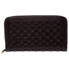 Chopard Brown Woven Leather Zip Around Continental Wallet
