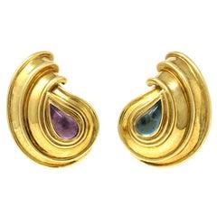 Chopard Casmir 18 Karat Yellow Gold Amethyst and Aquamarine Clip-On Earrings