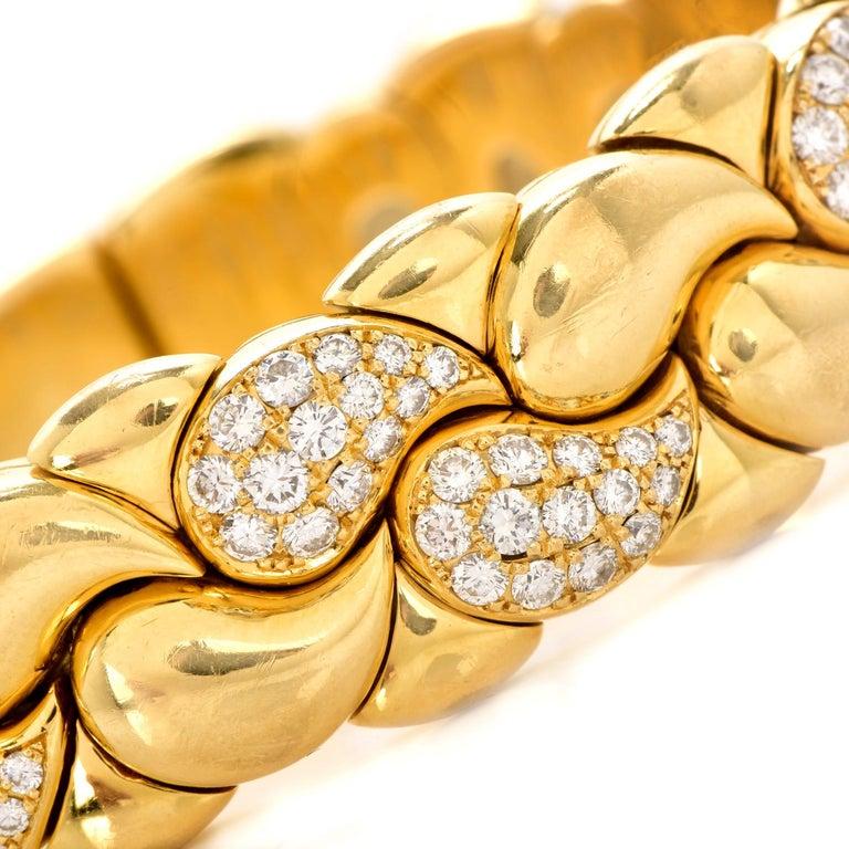 Modern Chopard Casmir Diamond 18K Gold Braided Designer Cuff Bangle For Sale