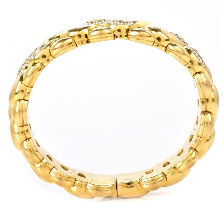 Chopard Casmir Diamond 18K Gold Braided Designer Cuff Bangle In Excellent Condition For Sale In Miami, FL