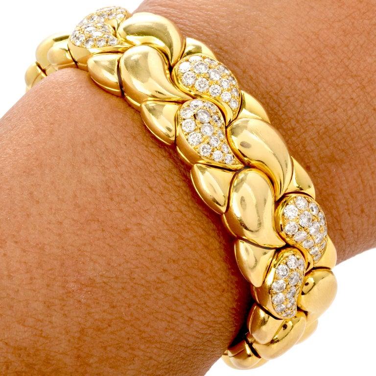 Women's or Men's Chopard Casmir Diamond 18K Gold Braided Designer Cuff Bangle For Sale
