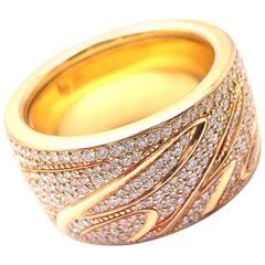 Chopard Chopardissimo 18 Karat Yellow Gold Pavé Diamond Signature Wide Band Ring