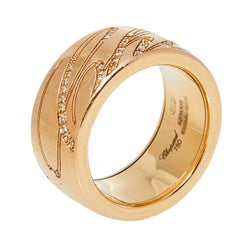 Chopard Chopardissimo Diamond 18K Rose Gold Rolling Band Ring Size 57