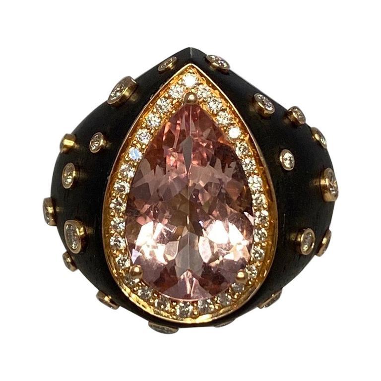 Chopard Custom Made Unique Morganite & Diamond 18k Yellow Gold Black Resin Ring