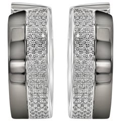 Chopard Diamond 18 Karat White Gold and Black Rhodium Pave Earrings