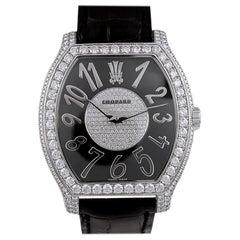 Chopard Diamond Black Leather Strap Watch