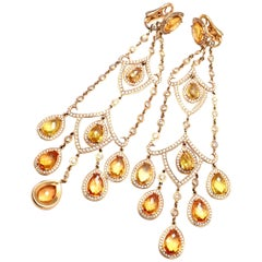 Chopard Diamond Citrine Chandelier Yellow Gold Drop Earrings