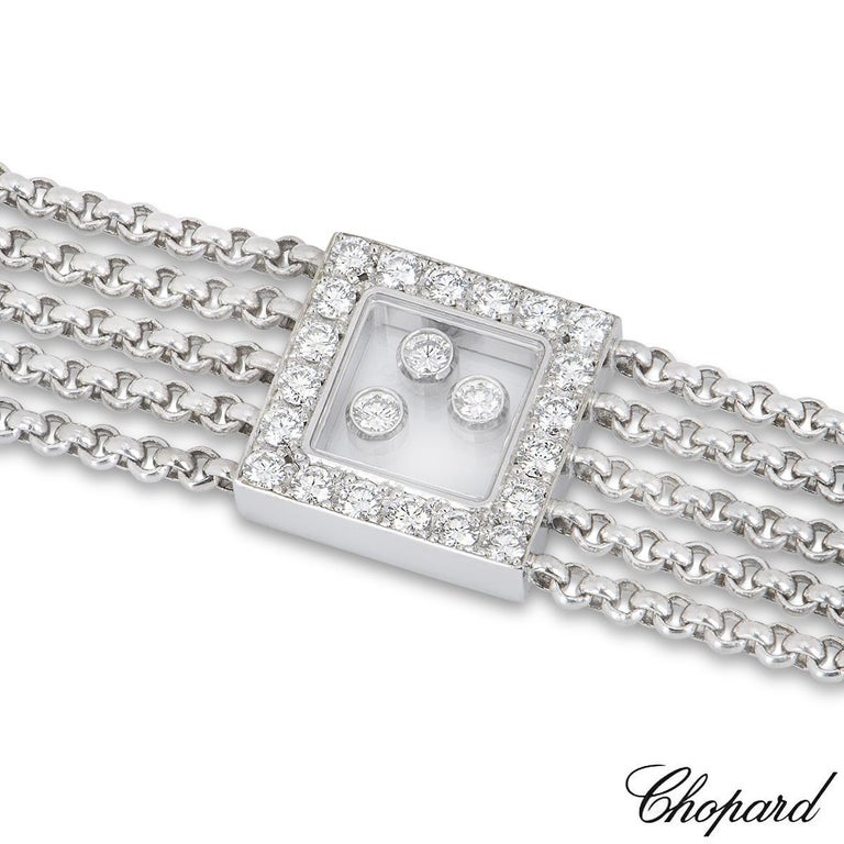 Round Cut Chopard Diamond Happy Curves Bracelet For Sale
