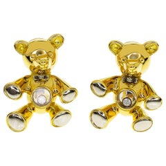Chopard Diamond Happy Diamond 18 Karat Yellow White Gold Bear Earrings