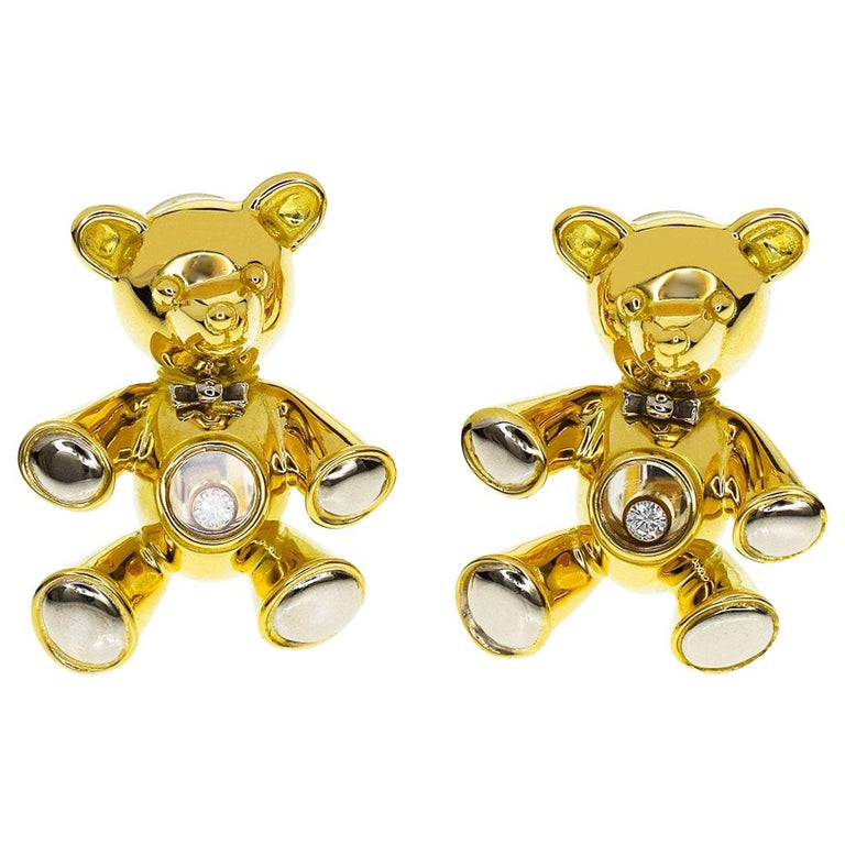 Chopard Diamond Happy Diamond 18 Karat Yellow White Gold Bear Earrings For Sale