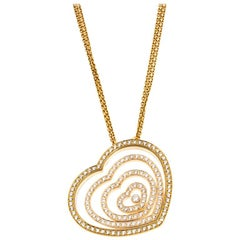 Chopard Diamond Heart 18k Yellow Gold Pendant Necklace