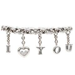 Chopard Diamond 'I Love You' 18 Karat White Gold Link Charm Bracelet