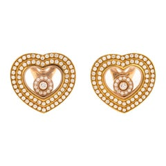 Chopard Diamond Pave 18K Yellow Gold Happy Diamonds Heart Earrings