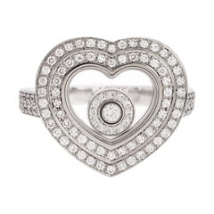Chopard Diamond Paved 18K White Gold Heart Ring Size 49
