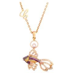 Chopard Diamond Sapphire Ruby and Paraiba Tourmaline Gold Fish Pendant Necklace