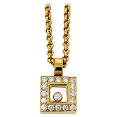 Chopard Floating Happy Diamonds Square Pendant Necklace in 18 Karat Yellow Gold