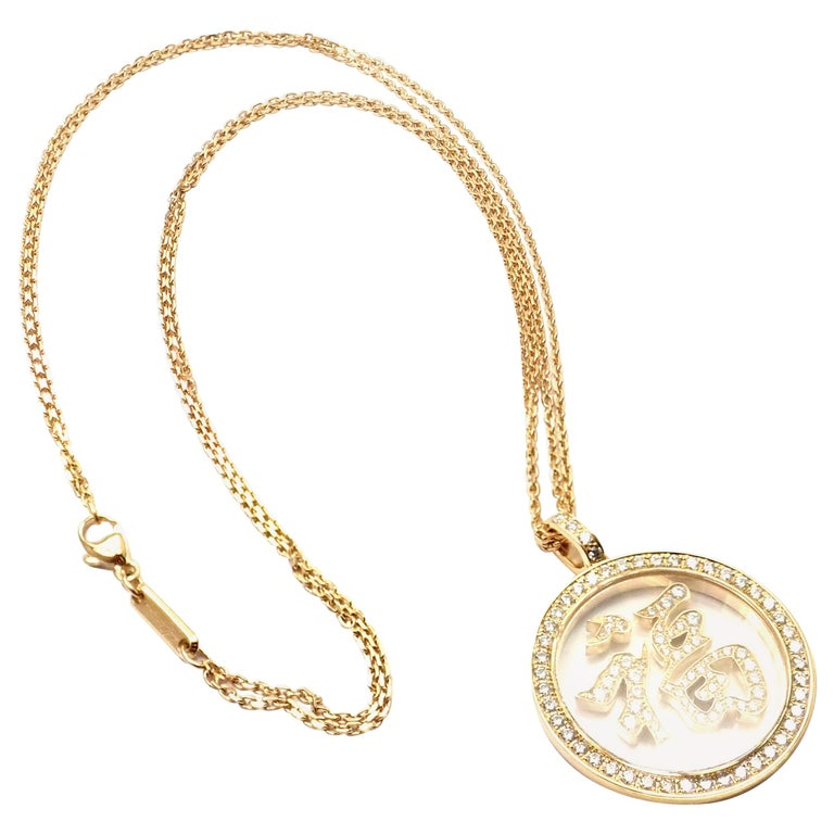 Chopard Fortune Diamond Yellow Gold Pendant Necklace For Sale