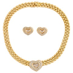 Chopard Geneve Floating Hearts Diamond Yellow Gold Choker and Clip-On Earrings