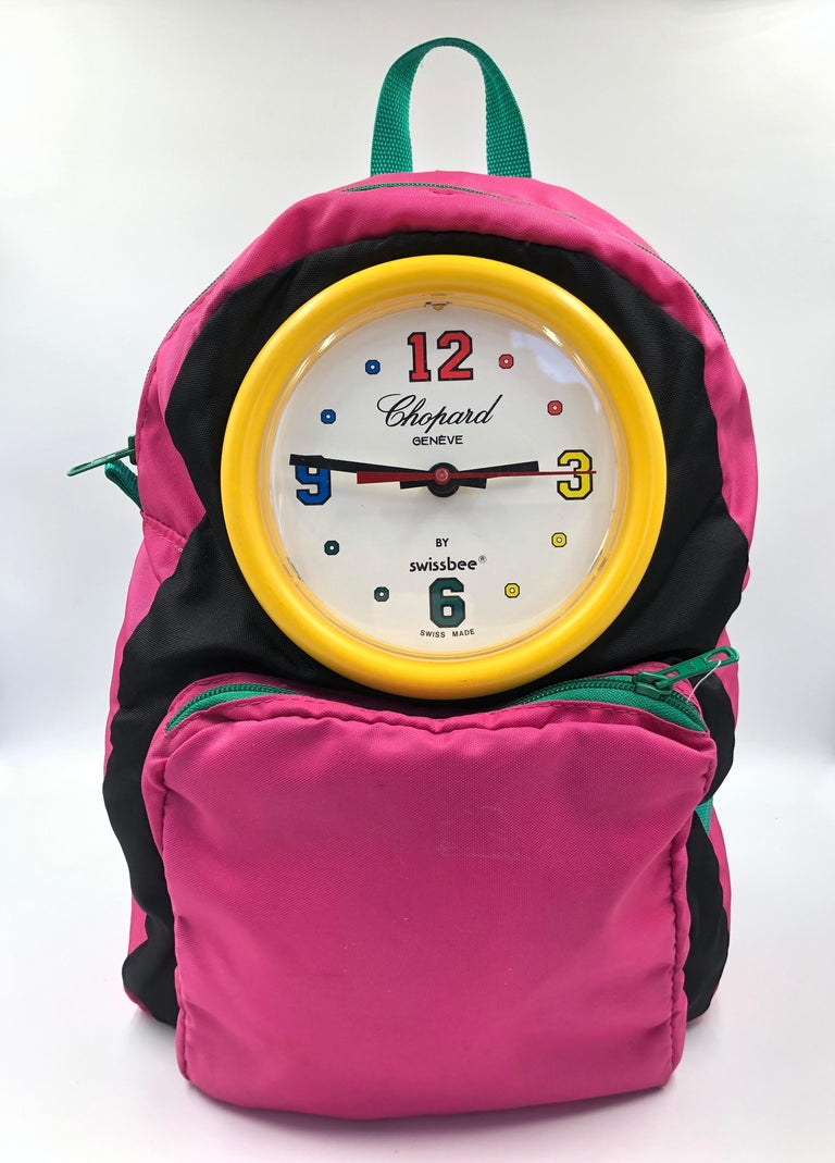 Chopard Genève Pink Nylon Backpack with Battery Operated Clock