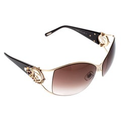 Chopard Gold/Brown Gradient SCH 805S Crystal Embellished Rectangular Sunglasses