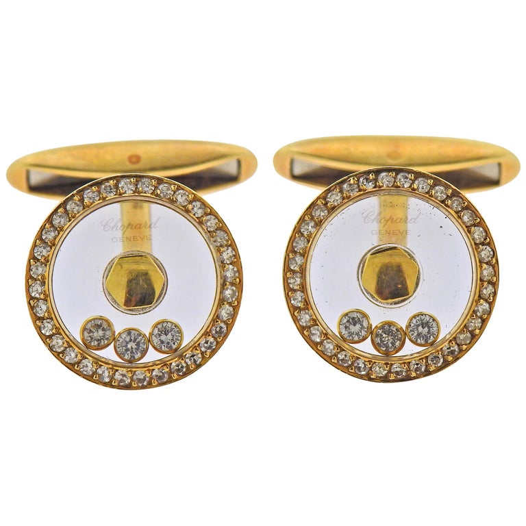 Chopard Gold Happy Diamond Cufflinks For Sale