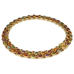 Chopard Gold Multi Gems Choker Necklace and Cocktail Ring Casmir Collection Set