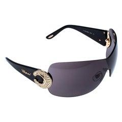 Chopard Grey SCH 939 S Crystal Embellished Shield Sunglasses