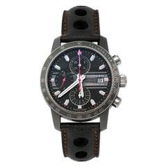 Chopard Grey Titanium Leather Grand Prix de Monaco Men's Wristwatch 42 mm