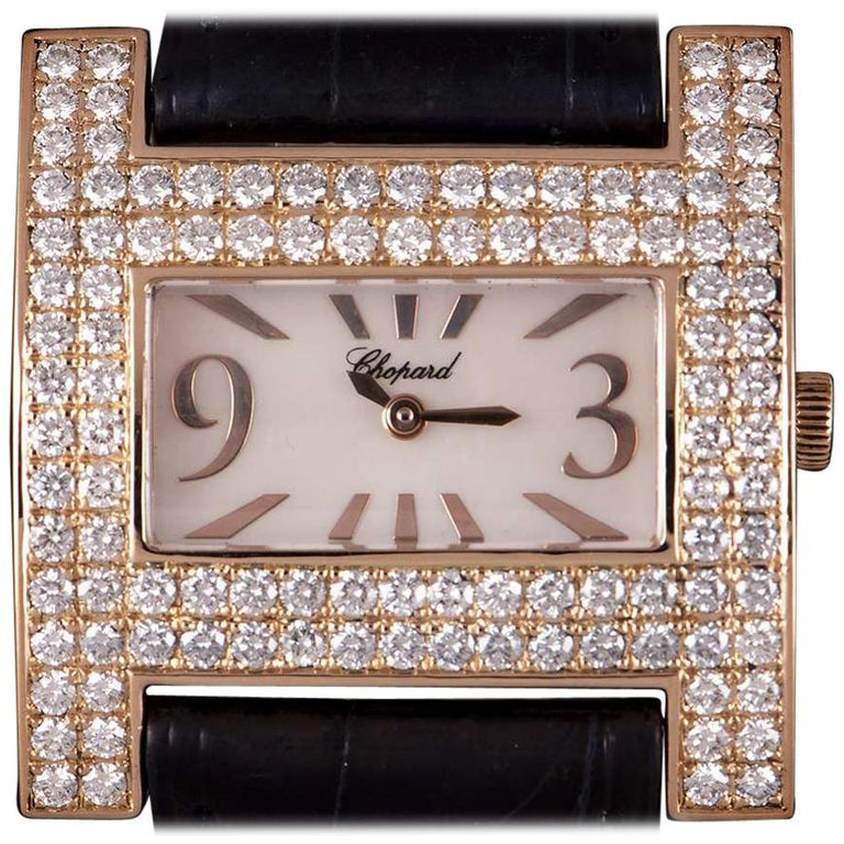 Chopard H Rose Gold Mother of Pearl Dial 39224-5002 Diamond Bezel Quartz For Sale