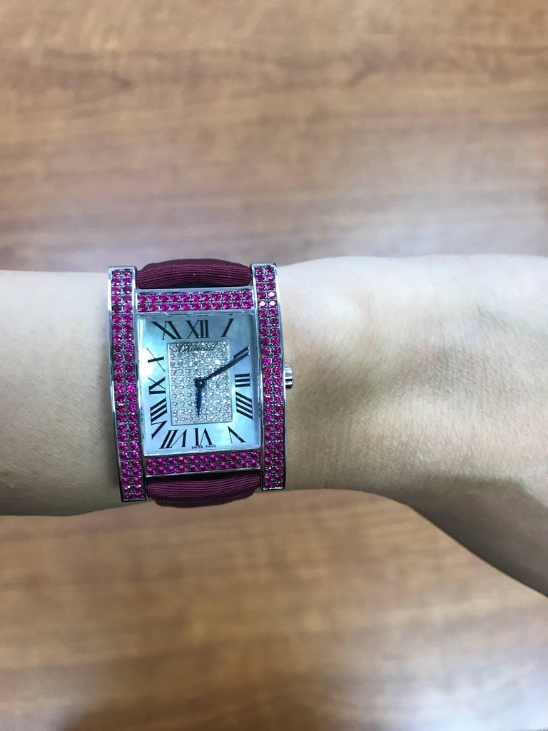 Chopard H White Gold Rubies And Diamonds Satin Band Ladies
