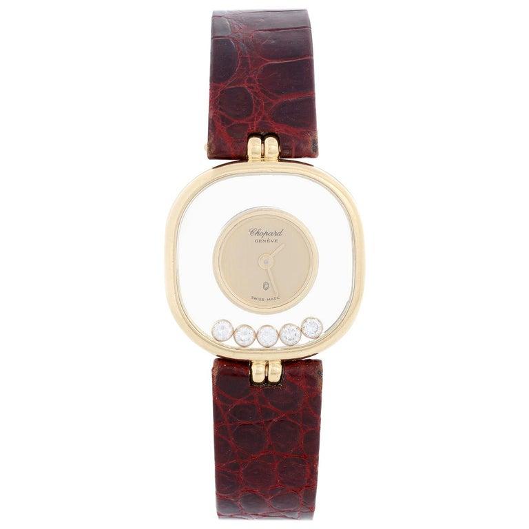 Chopard Happy 18 Karat Yellow Gold Ladies Diamond Watch For Sale