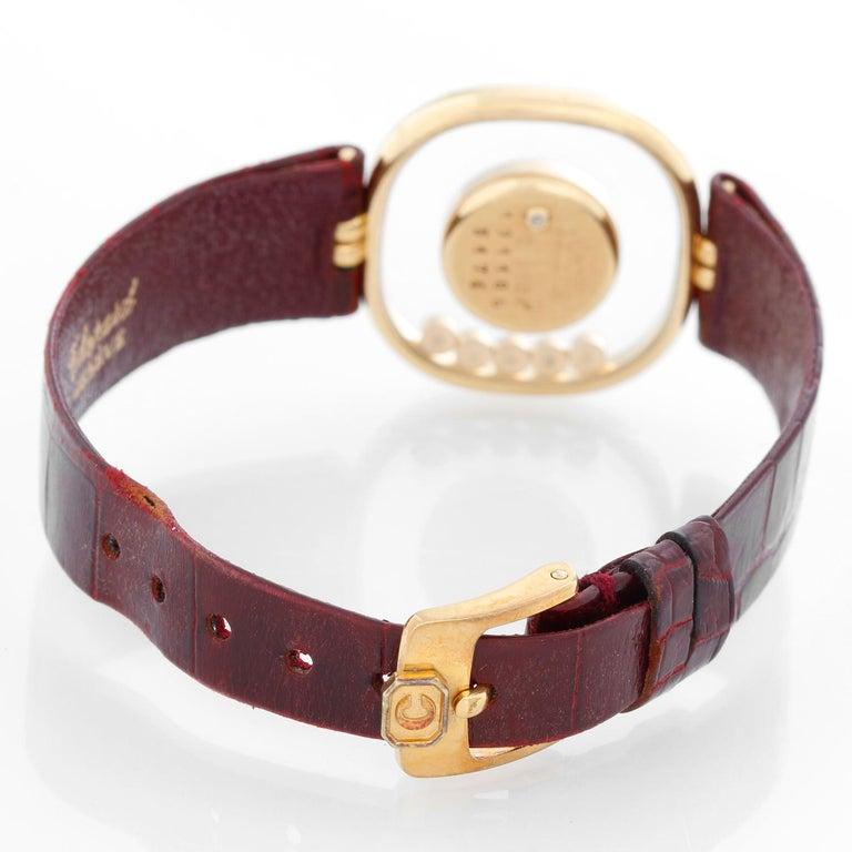 Chopard Happy 18 Karat Yellow Gold Ladies Diamond Watch In Excellent Condition For Sale In Dallas, TX
