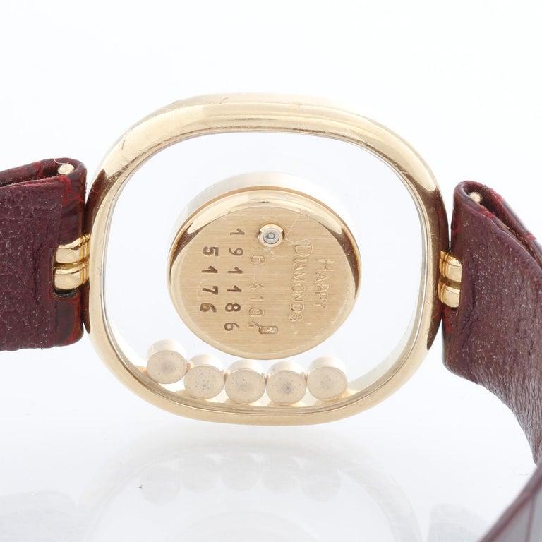 Women's Chopard Happy 18 Karat Yellow Gold Ladies Diamond Watch For Sale