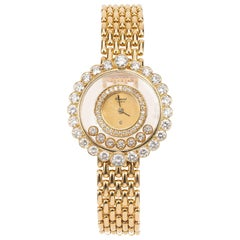 Chopard Happy 2.00 Carat Diamond Yellow Gold Ladies Wristwatch