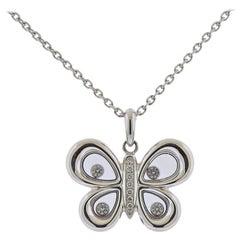 Chopard Happy Butterflies Gold Diamond Pendant Necklace 799511-1201