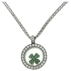 Chopard Happy Clover Tsavorite Garnet Diamond Pendant Necklace, White Gold