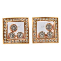Chopard Happy Curves Floating Diamond Rose Gold Earrings 839224-5002