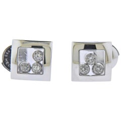 Chopard Happy Curves Gold Diamond Square Stud Earrings 839224-1001