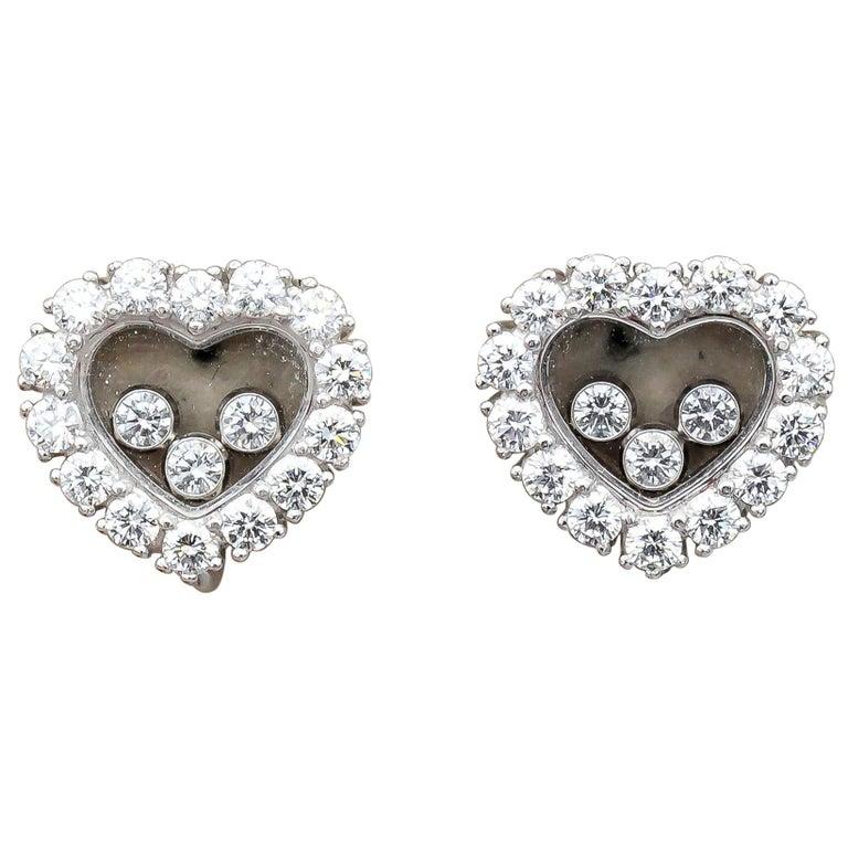 Chopard Happy Diamond 18 Karat White Gold Earrings for Non Pierced Ears For Sale