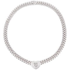 Chopard Happy Diamond 18 Karat White Gold Heart Necklace Original Box Included