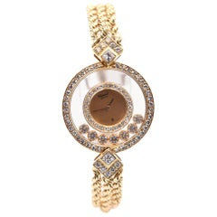 Chopard Happy Diamond 18k Gold Diamond Bezel Ladies Quartz Watch Ref 20/3961